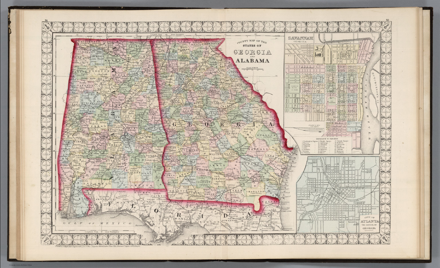 County Map of the States of Georgia and Alabama  - David