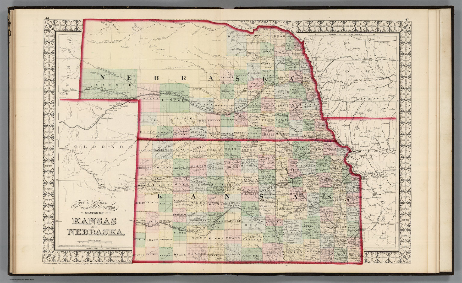 county township map of the states of kansas and nebraska david