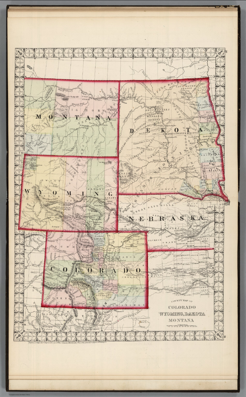 County Map of Colorado, Wyoming, Dakota, Montana. - David ...