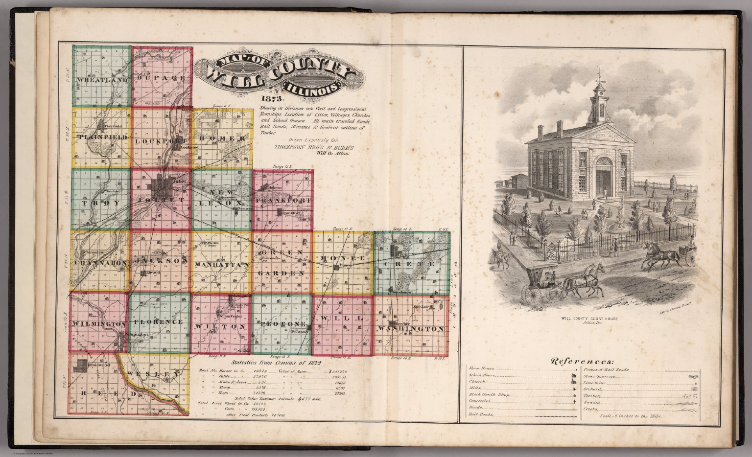 Will County Illinois 1873 View Will County Court House Legend