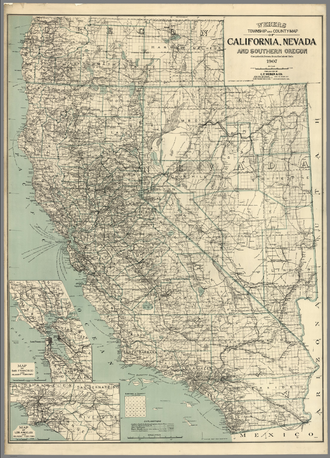 Map Of California Nevada And Southern Oregon David Rumsey