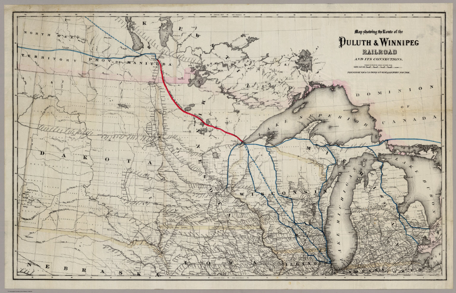 Route of the Duluth & Winnipeg Railroad