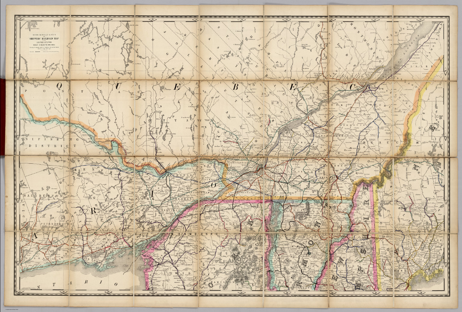 Map Of New England And Quebec.Quebec New England Railroad Map Of The United States David