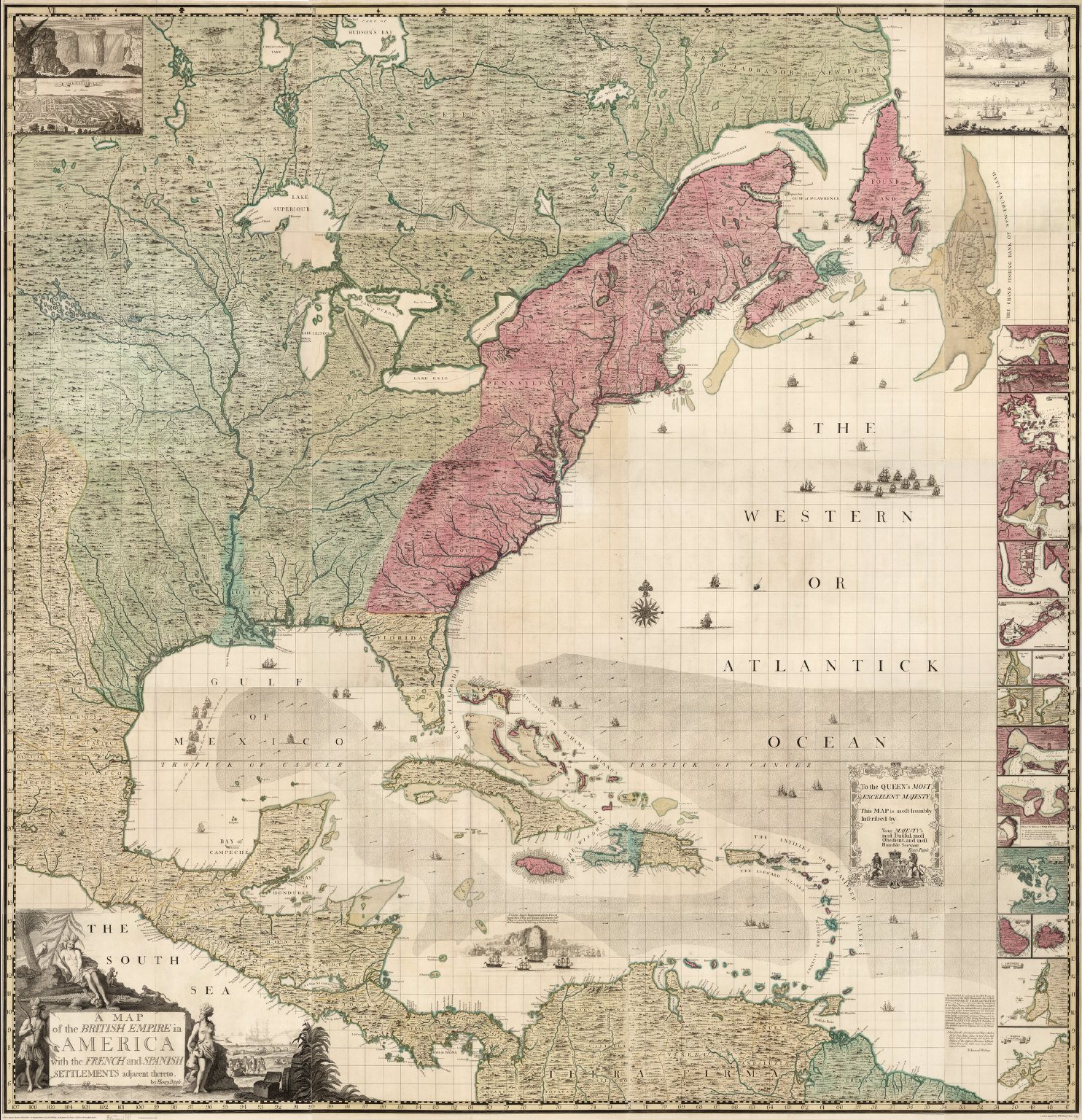 (Composite Map of) A Map of the British Empire in America with the French and Spanish Settlements adjacent thereto. by Henry Popple.