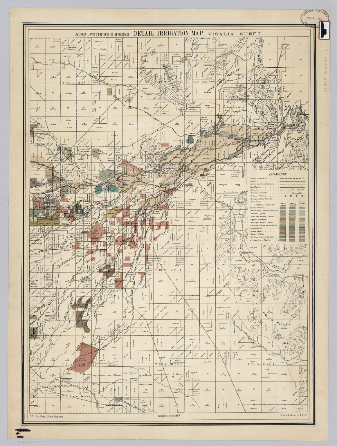 Map Of California Visalia.Visalia Sheet Detail Irrigation Map David Rumsey Historical Map