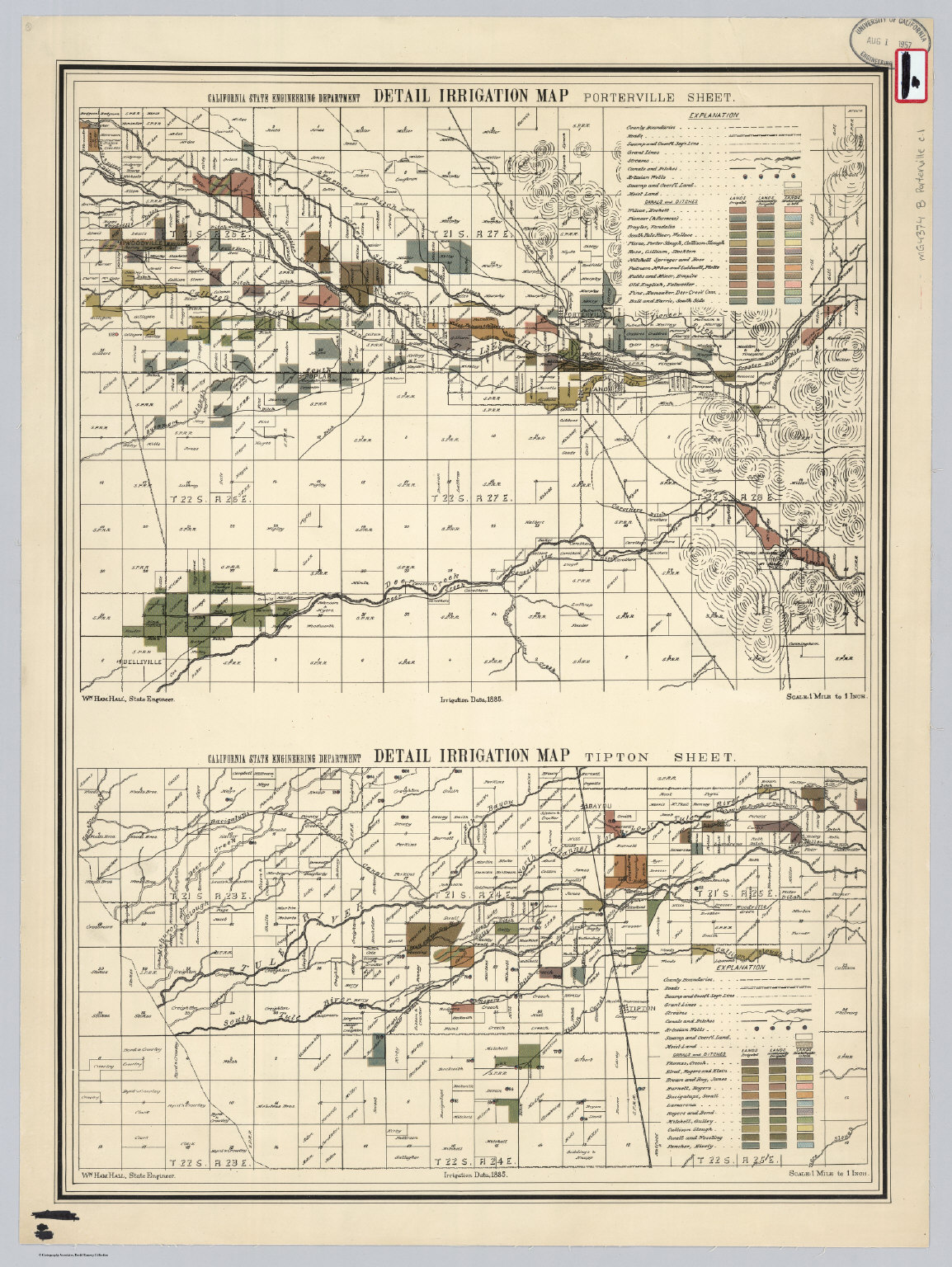 Porterville and Tipton Sheet. Detail Irrigation Map. - David Rumsey ...