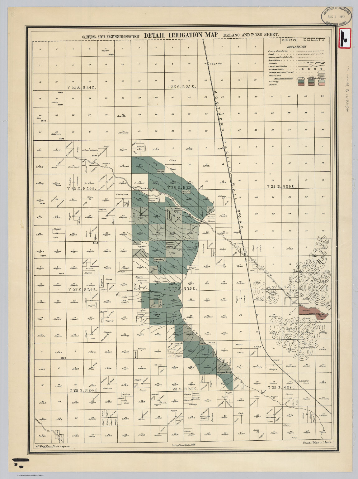 Delano and Poso Sheet. Detail Irrigation Map.