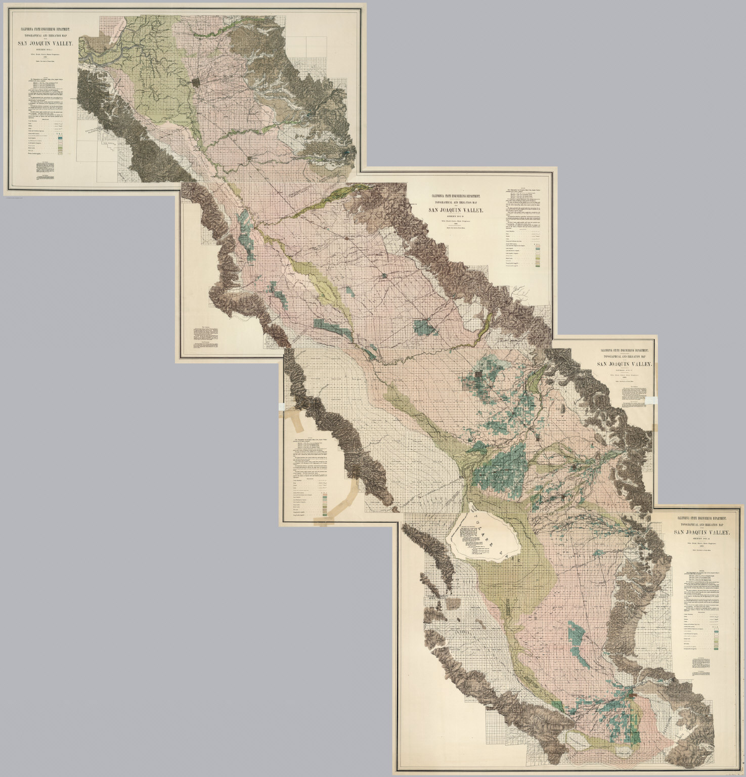 Composite Sheets Nos 1 4 Irrigation Map Of The San Joaquin Valley