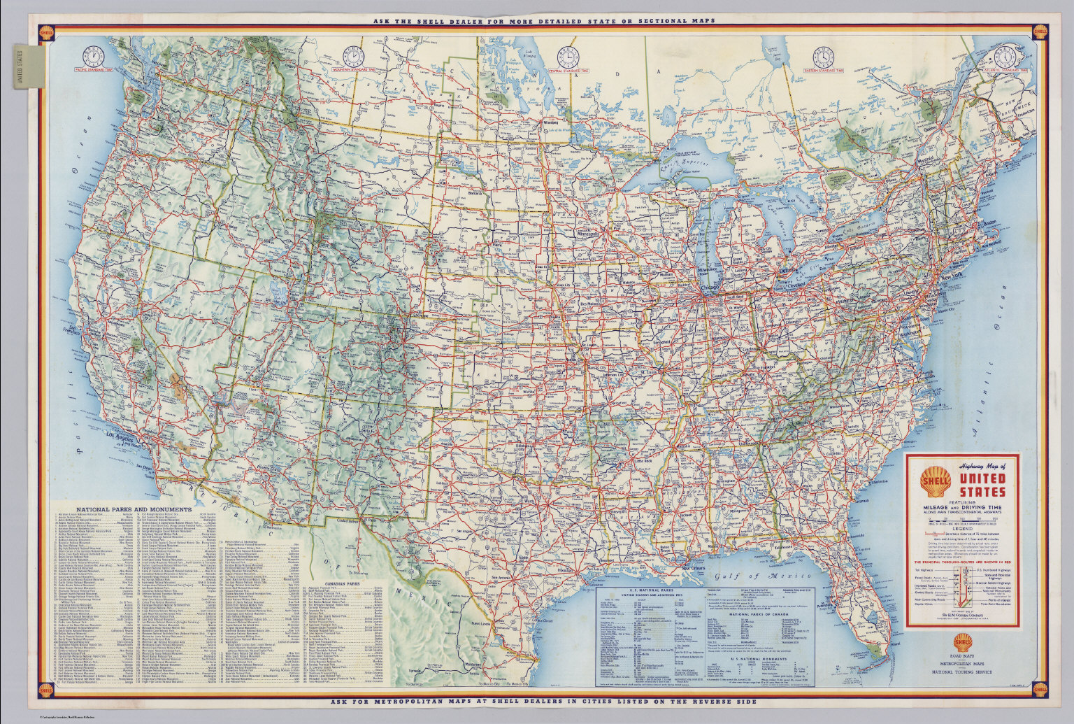 Shell Highway Map Of United States David Rumsey Historical Map