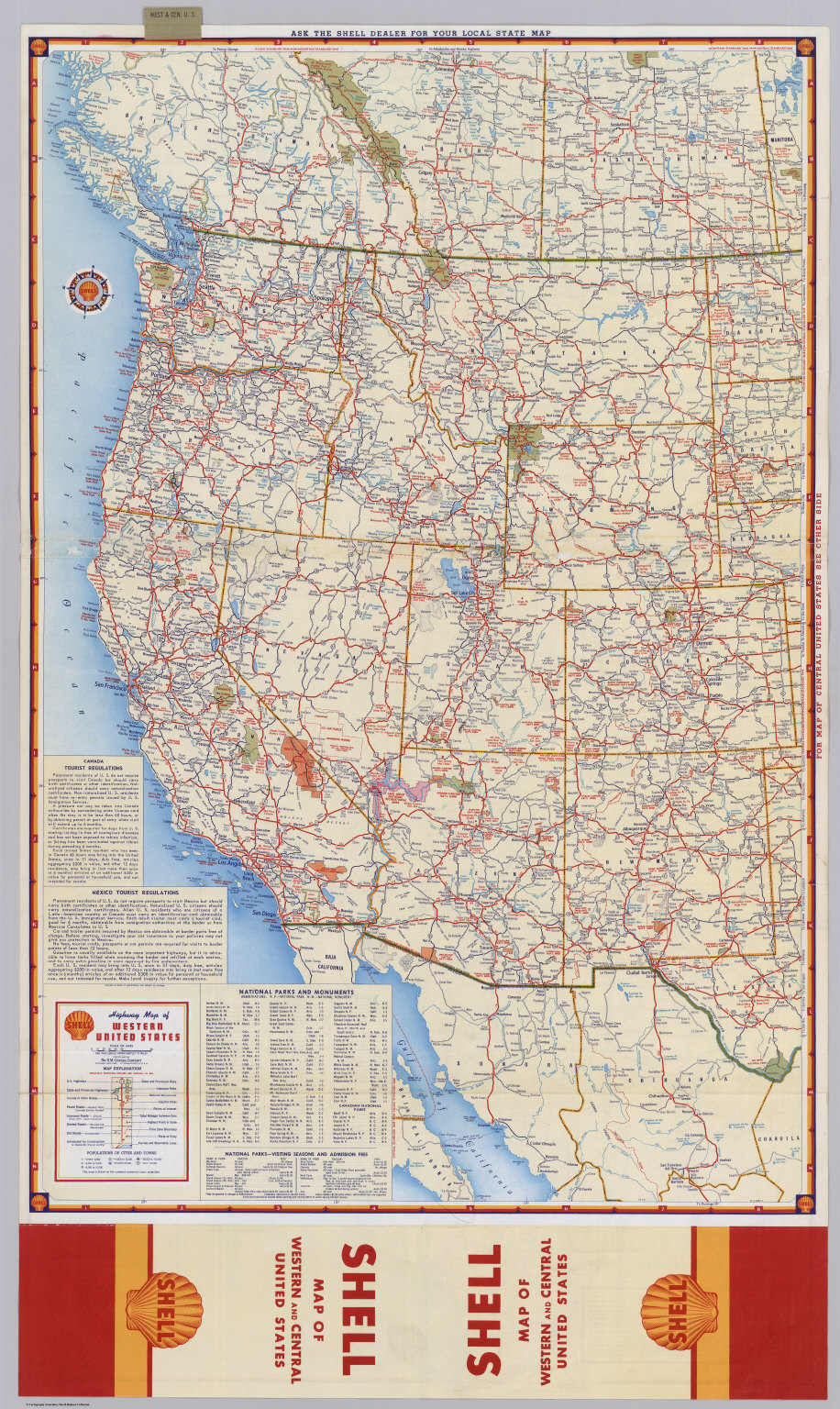 Us Western States Road Map Shell Highway Map of Western United States.   David Rumsey