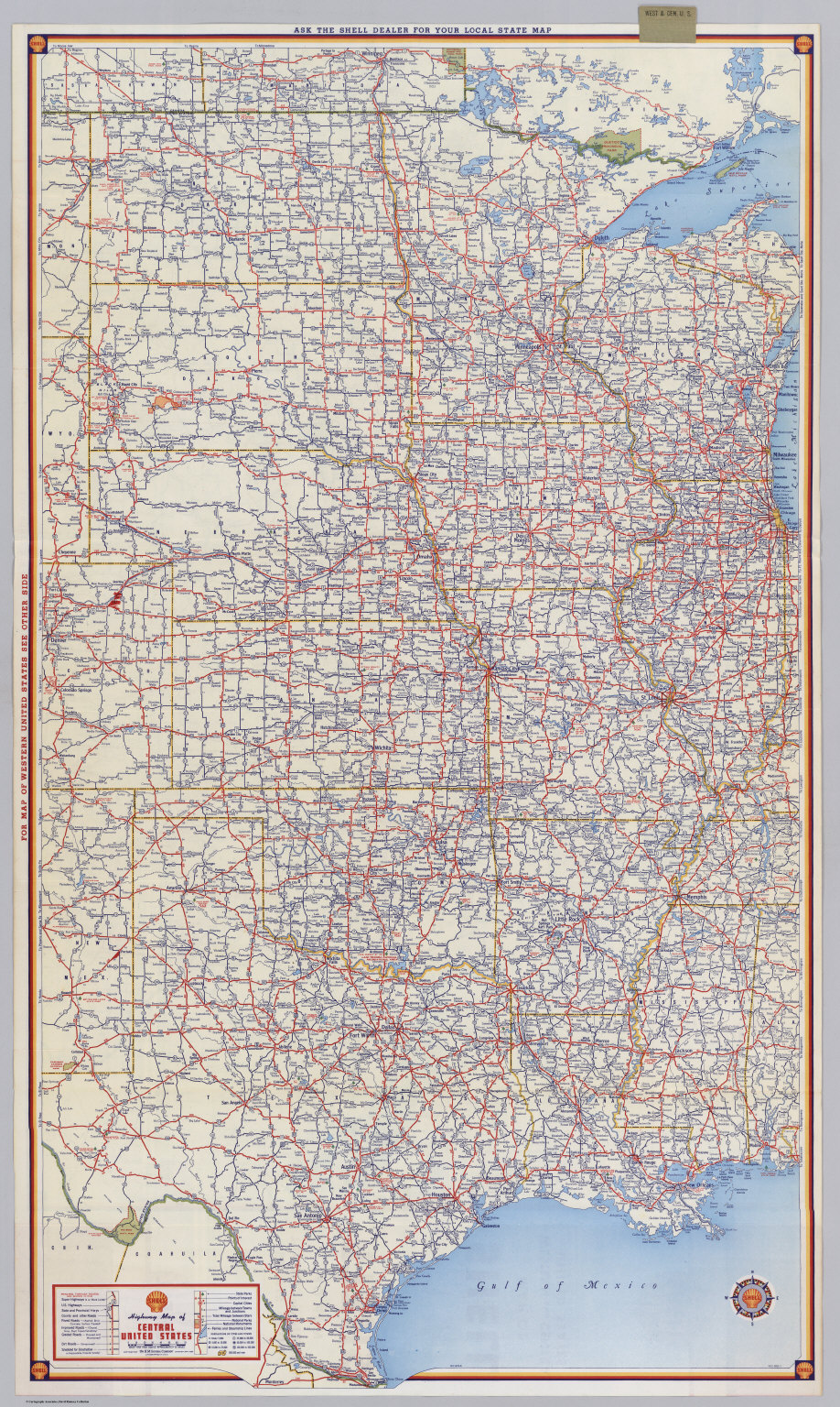 Shell Highway Map Of Central United States David Rumsey