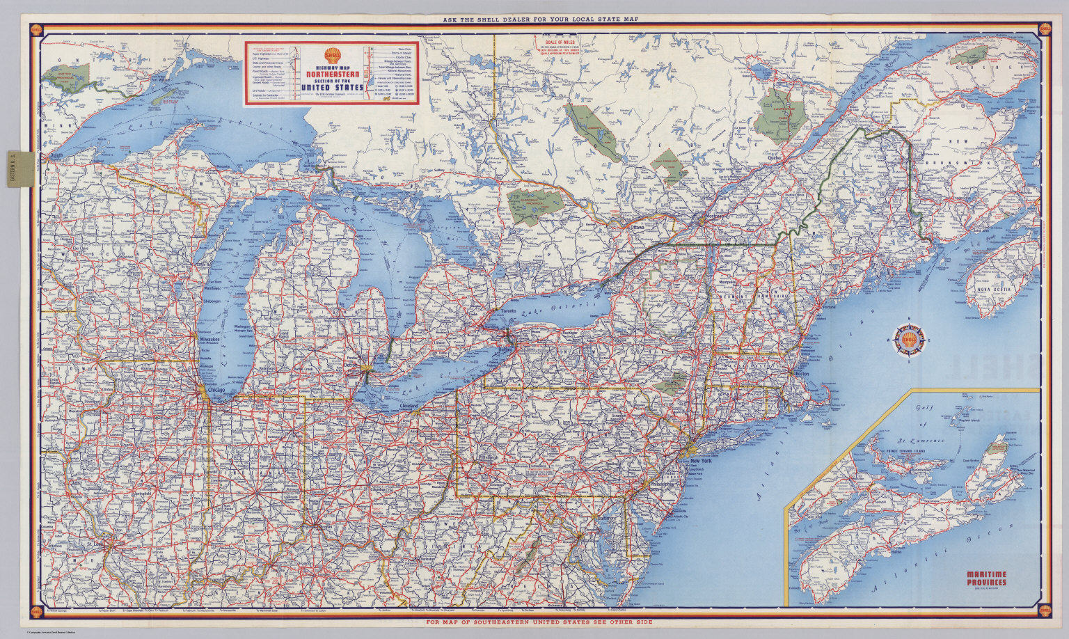 Shell Highway Map Northeastern Section of the United States David