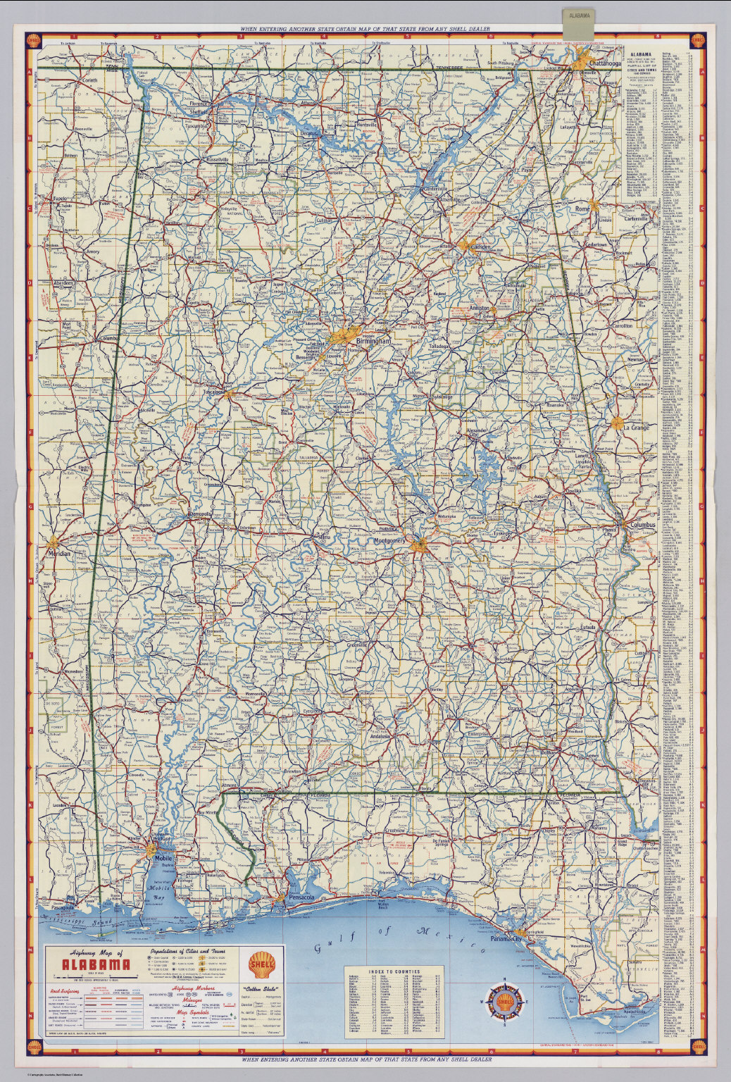 Political Map Of Alabama.Shell Highway Map Of Alabama David Rumsey Historical Map Collection