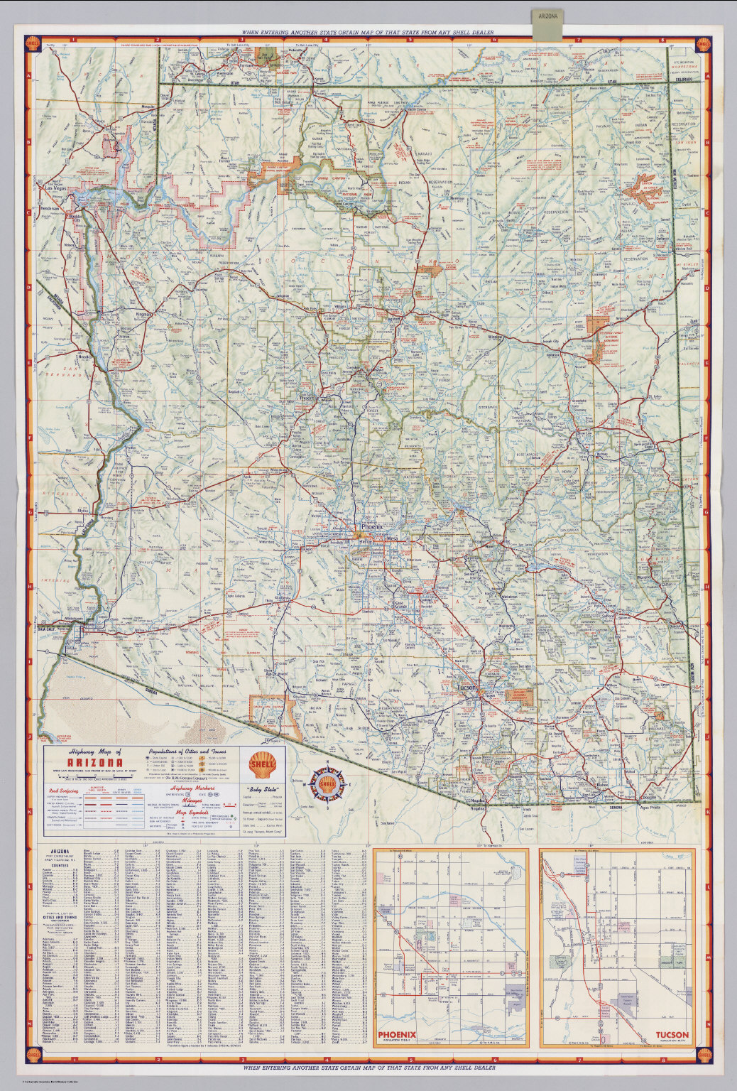 Shell Highway Map of Arizona David Rumsey Historical Map Collection