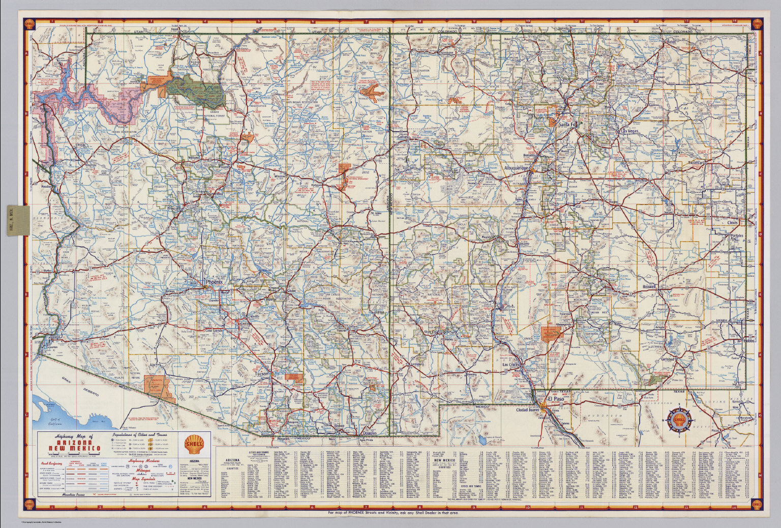 Shell Highway Map of Arizona and New Mexico David Rumsey