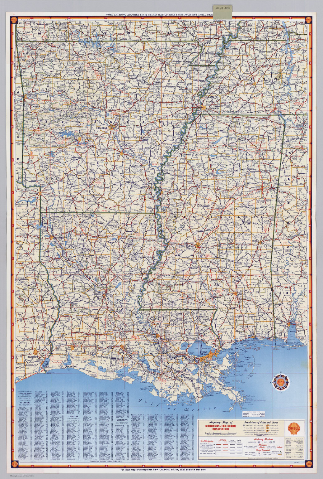 Shell Highway Map of ArkansasLouisiana Mississippi David Rumsey