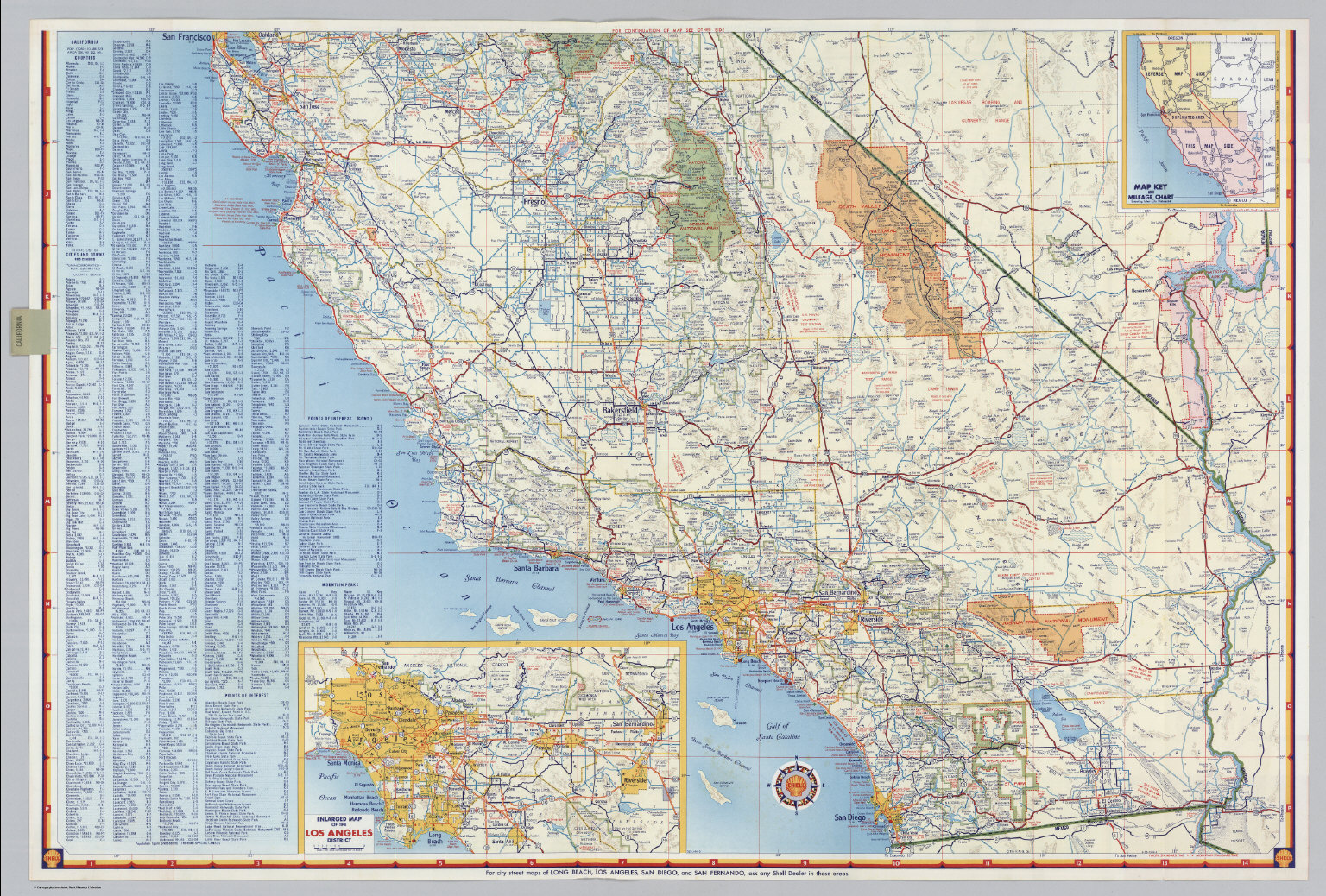 Shell Highway Map of California southern portion David Rumsey