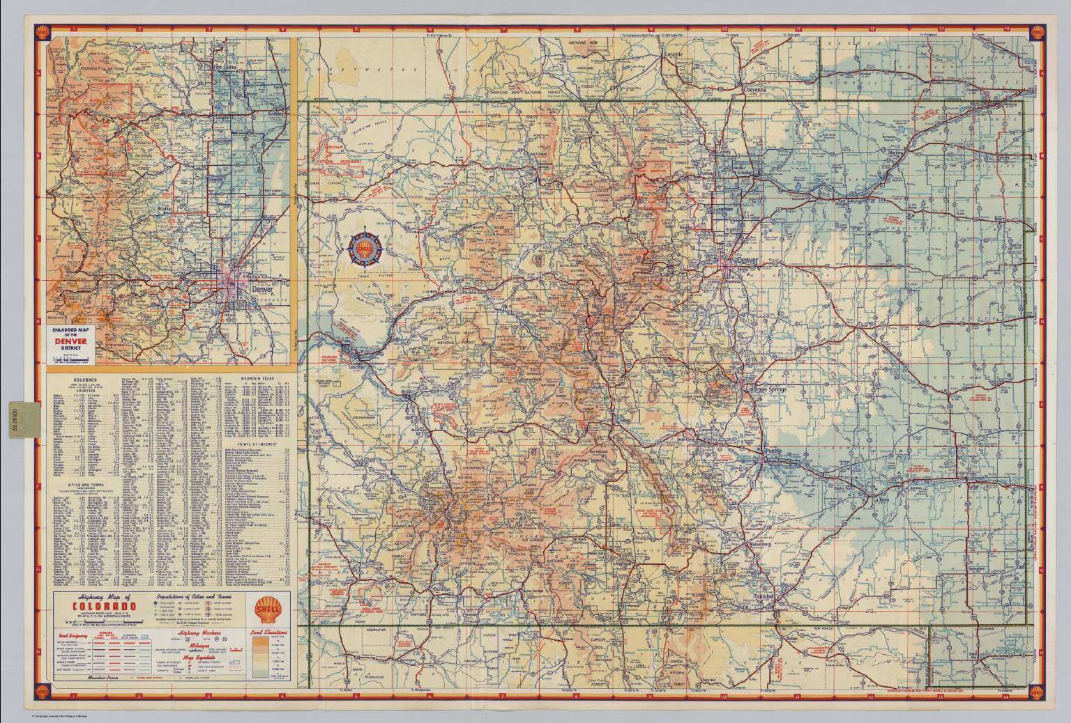 Shell Highway Map of Colorado.   David Rumsey Historical Map