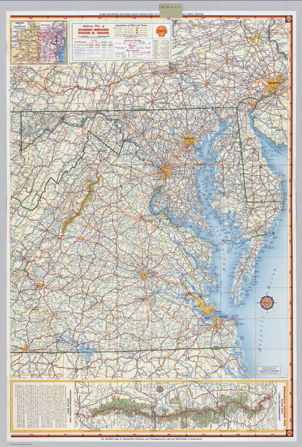 Shell Highway Map of Delaware   Maryland, Virginia, W. Virginia