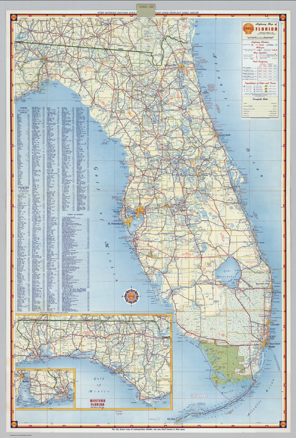 Florida Highway Map.Shell Highway Map Of Florida David Rumsey Historical Map Collection