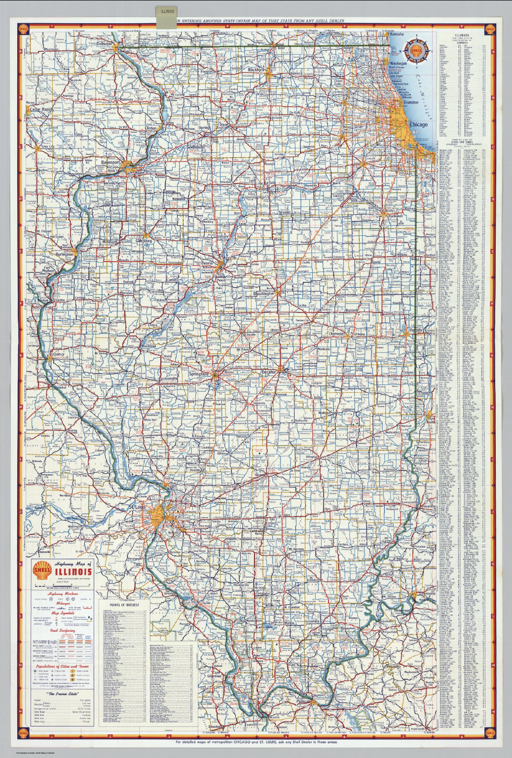 Shell Highway Map Of Illinois David Rumsey Historical Map Collection