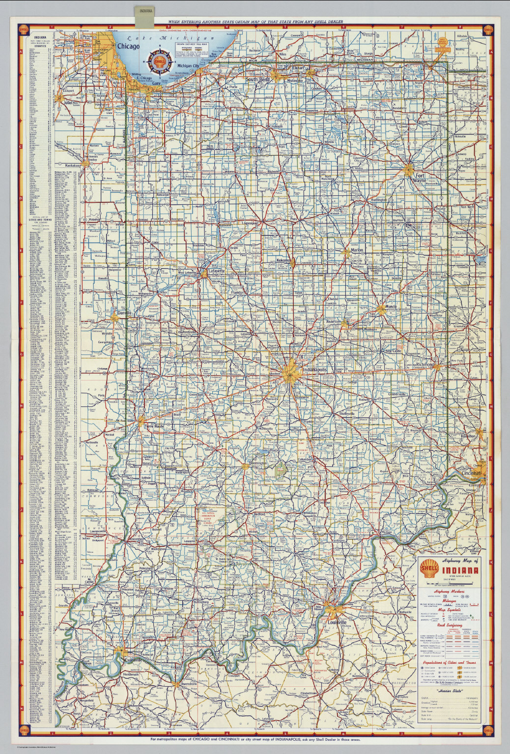 Highway Map Of Indiana Shell Highway Map of Indiana.   David Rumsey Historical Map Collection