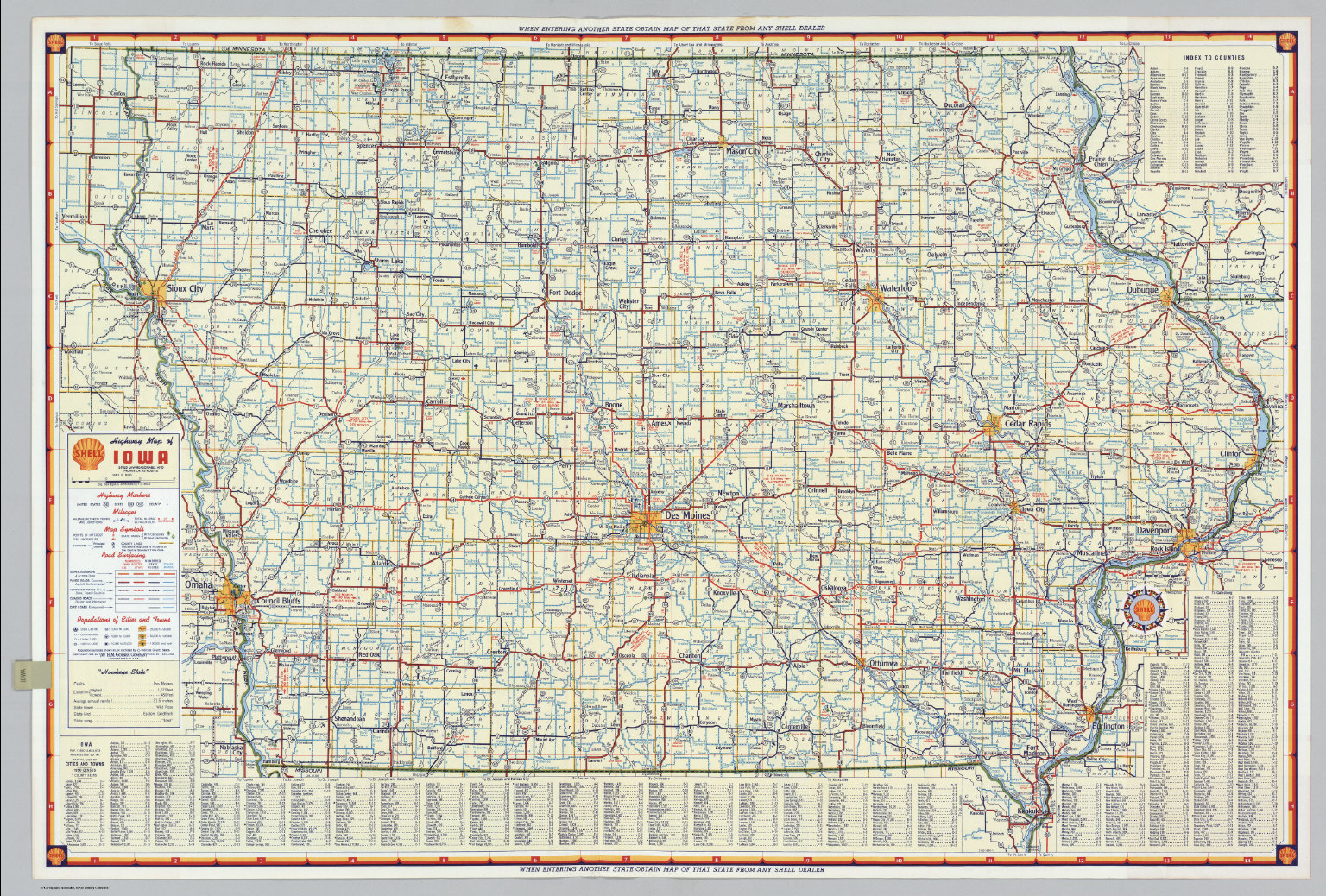 Shell Highway Map of Iowa  - David Rumsey Historical Map Collection