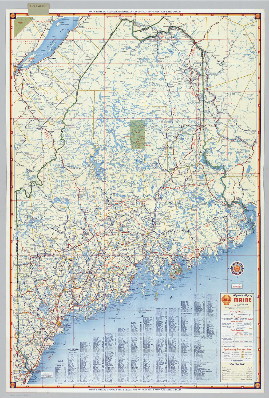 State Map Of Maine.Shell Highway Map Of Maine David Rumsey Historical Map Collection