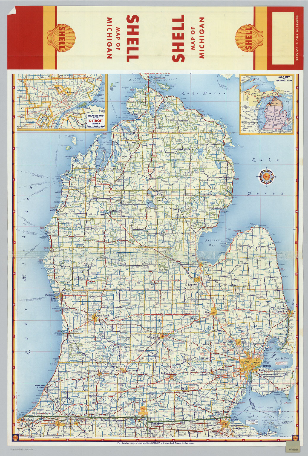 Shell highway map of michigan southern portion david rumsey shell highway map of michigan southern portion gumiabroncs Images
