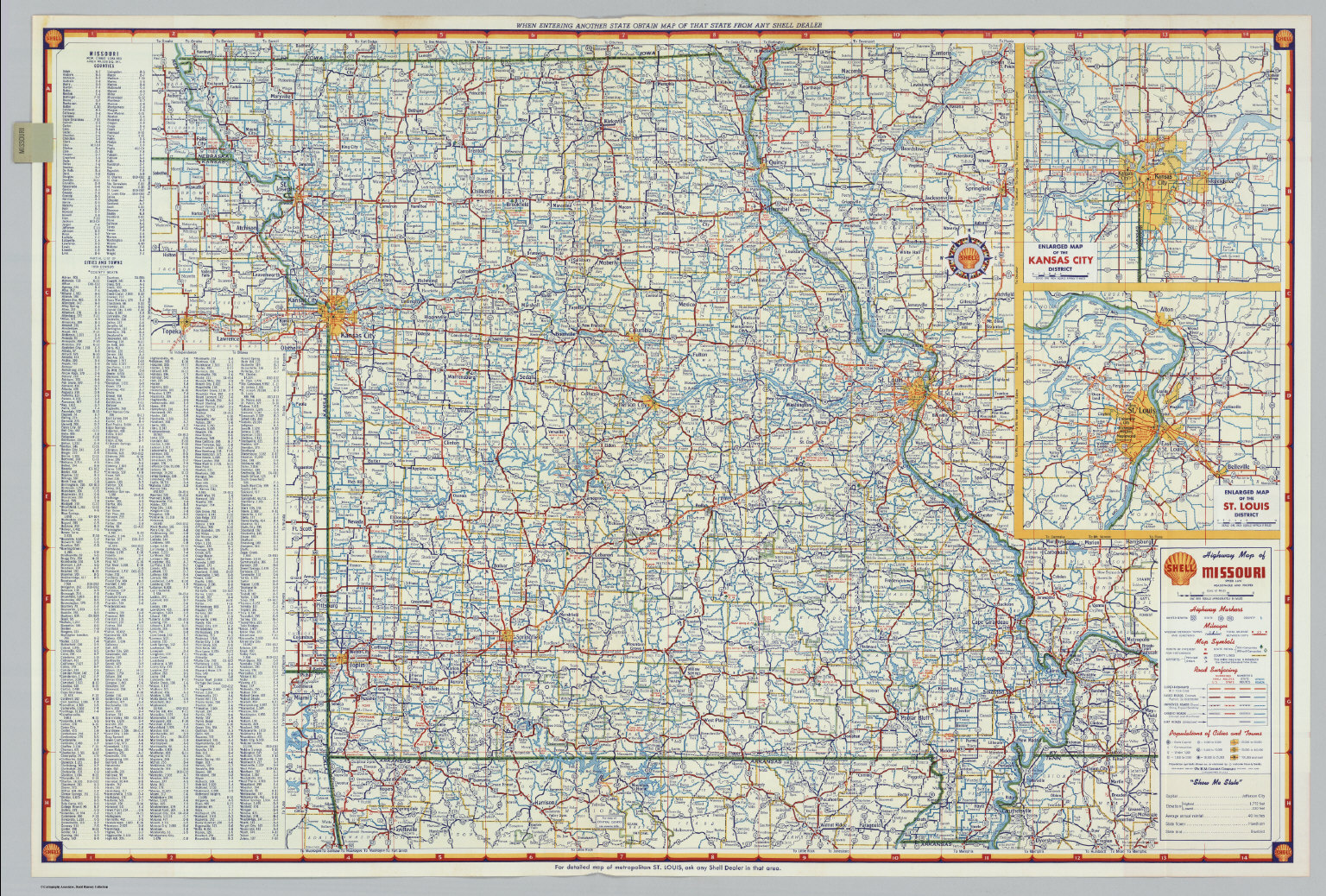 Shell Highway Map of Missouri David Rumsey Historical Map Collection