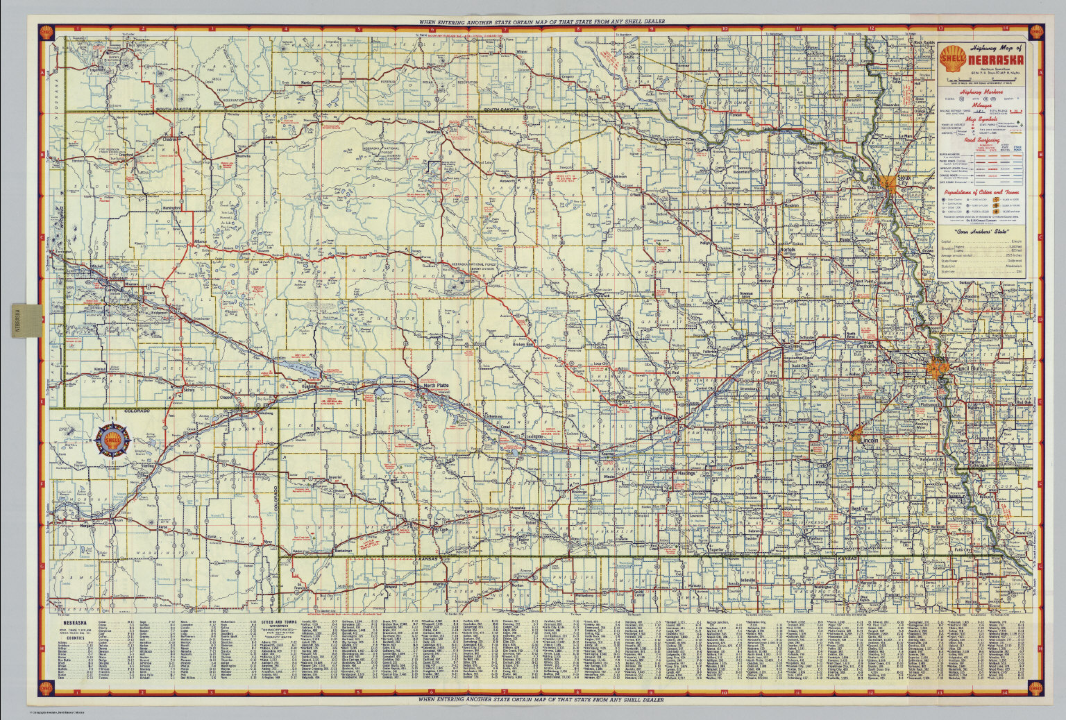 Shell Highway Map of Nebraska David Rumsey Historical Map Collection