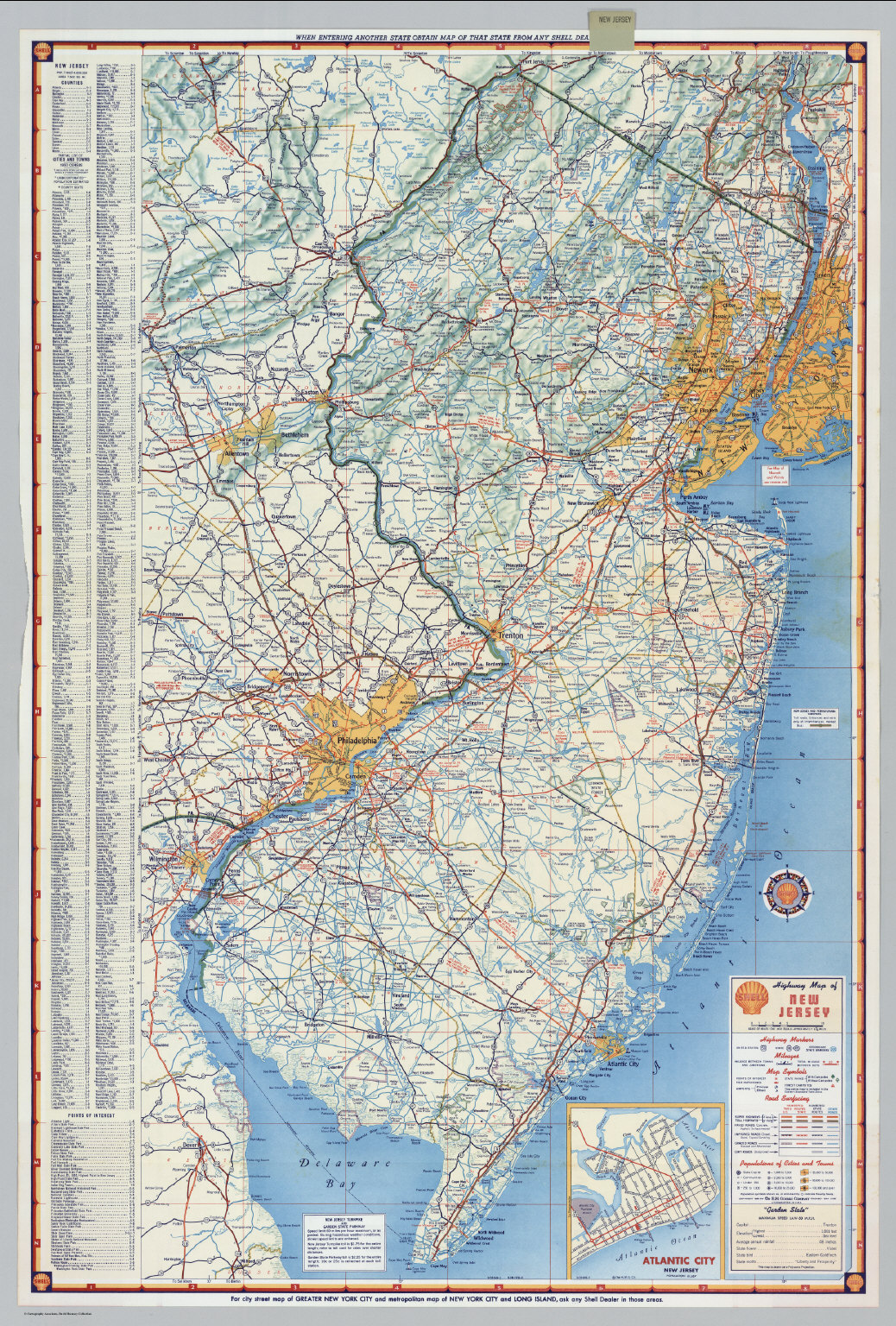 Road Map Of New Jersey Shell Highway Map of New Jersey.   David Rumsey Historical Map  Road Map Of New Jersey