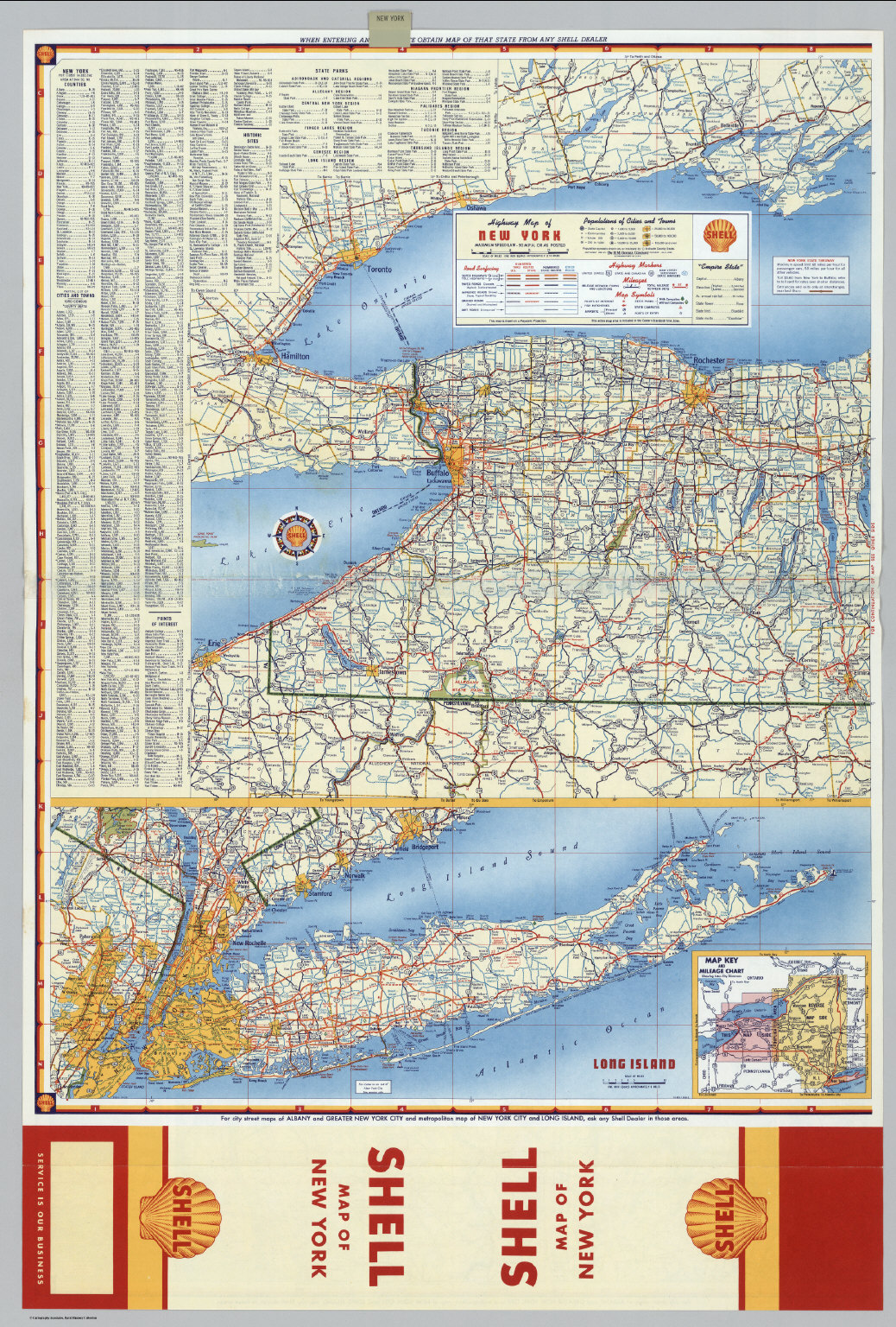 Shell Highway Map of New York eastern portion David Rumsey