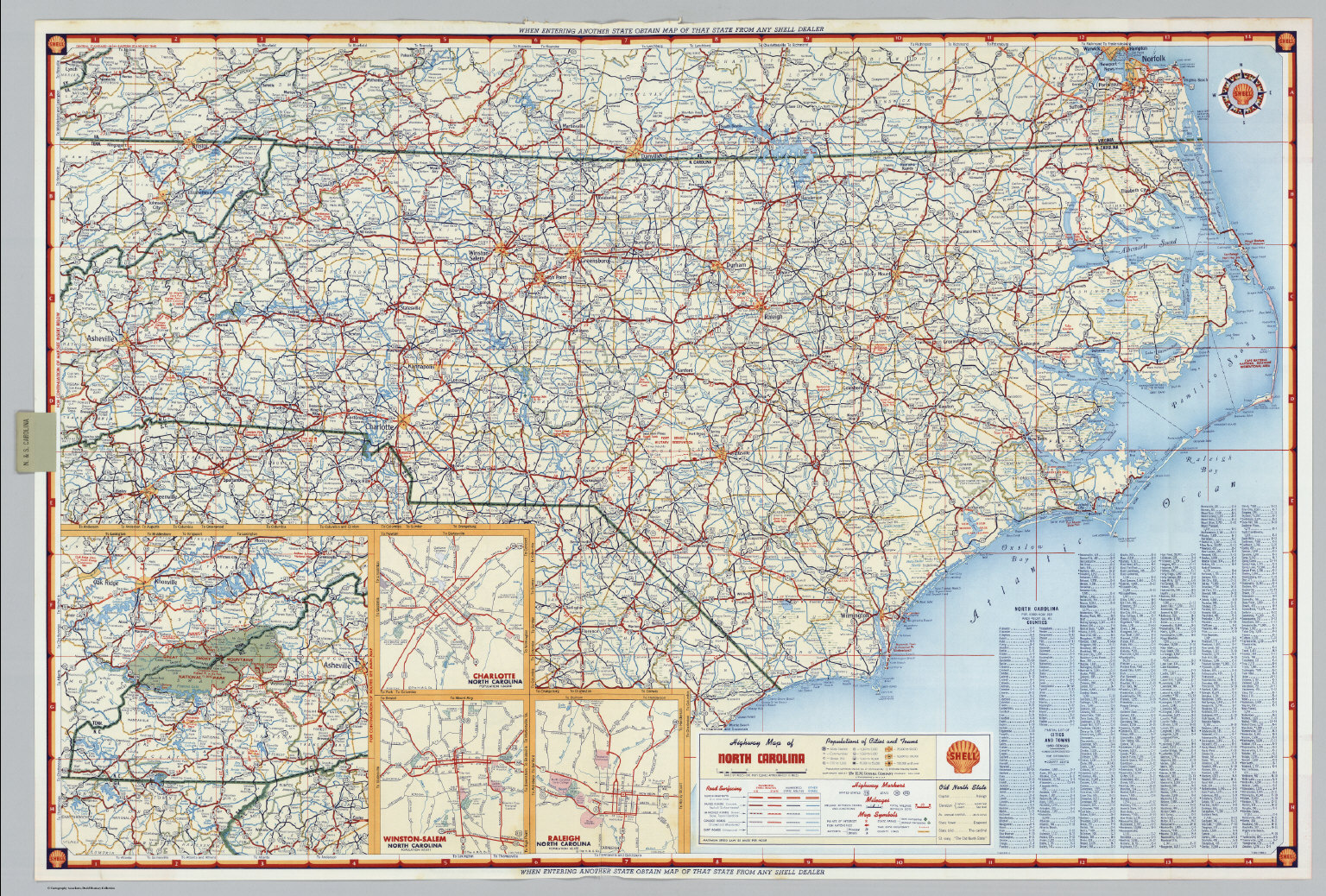 Shell Highway Map of North Carolina David Rumsey Historical Map