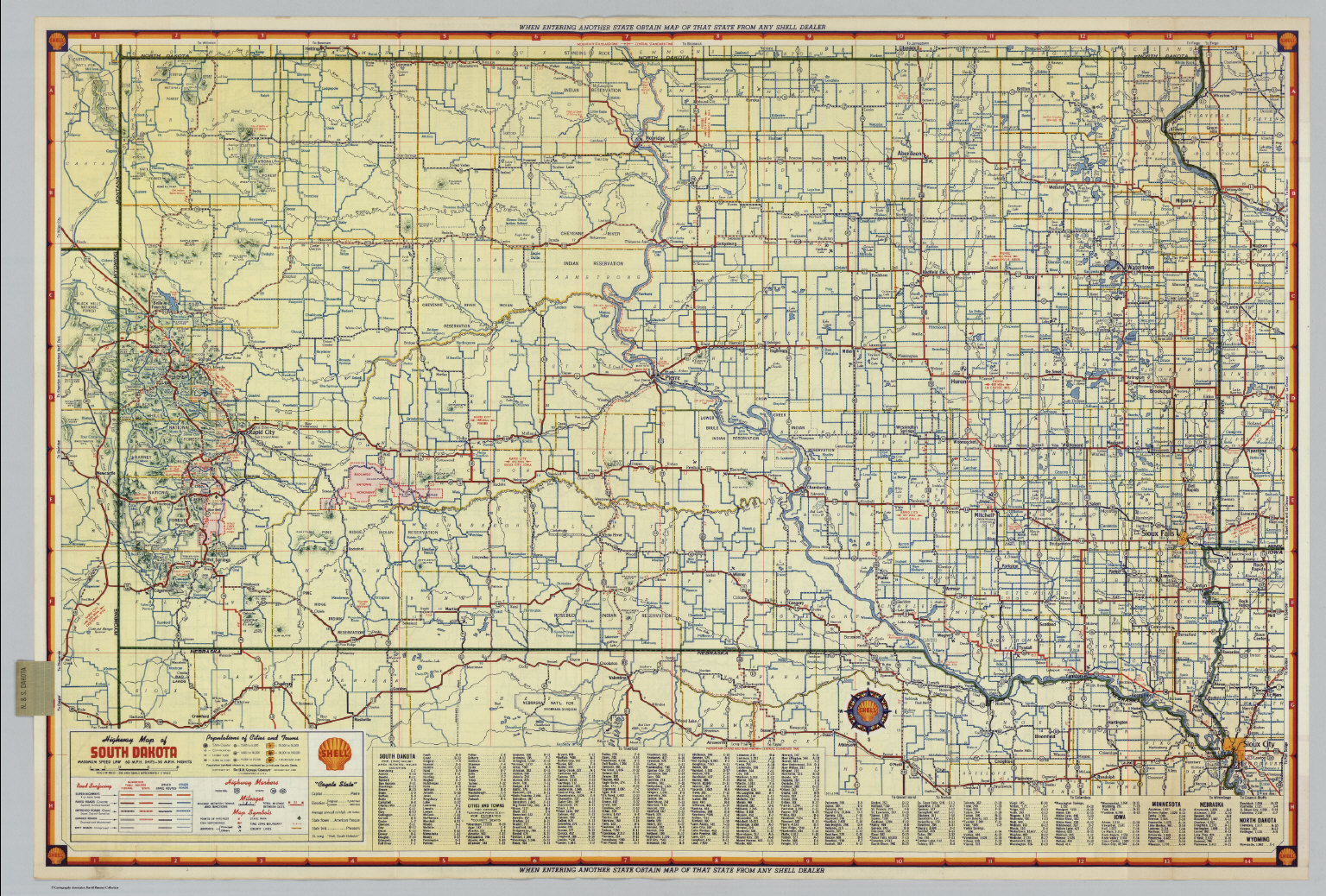 Shell Highway Map of South Dakota David Rumsey Historical Map