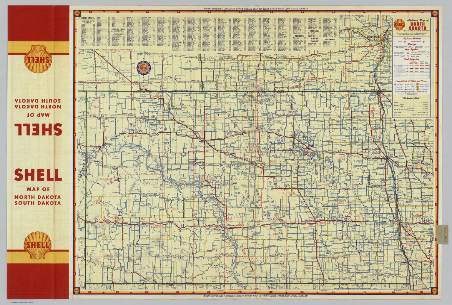 Shell Highway Map of North Dakota David Rumsey Historical Map