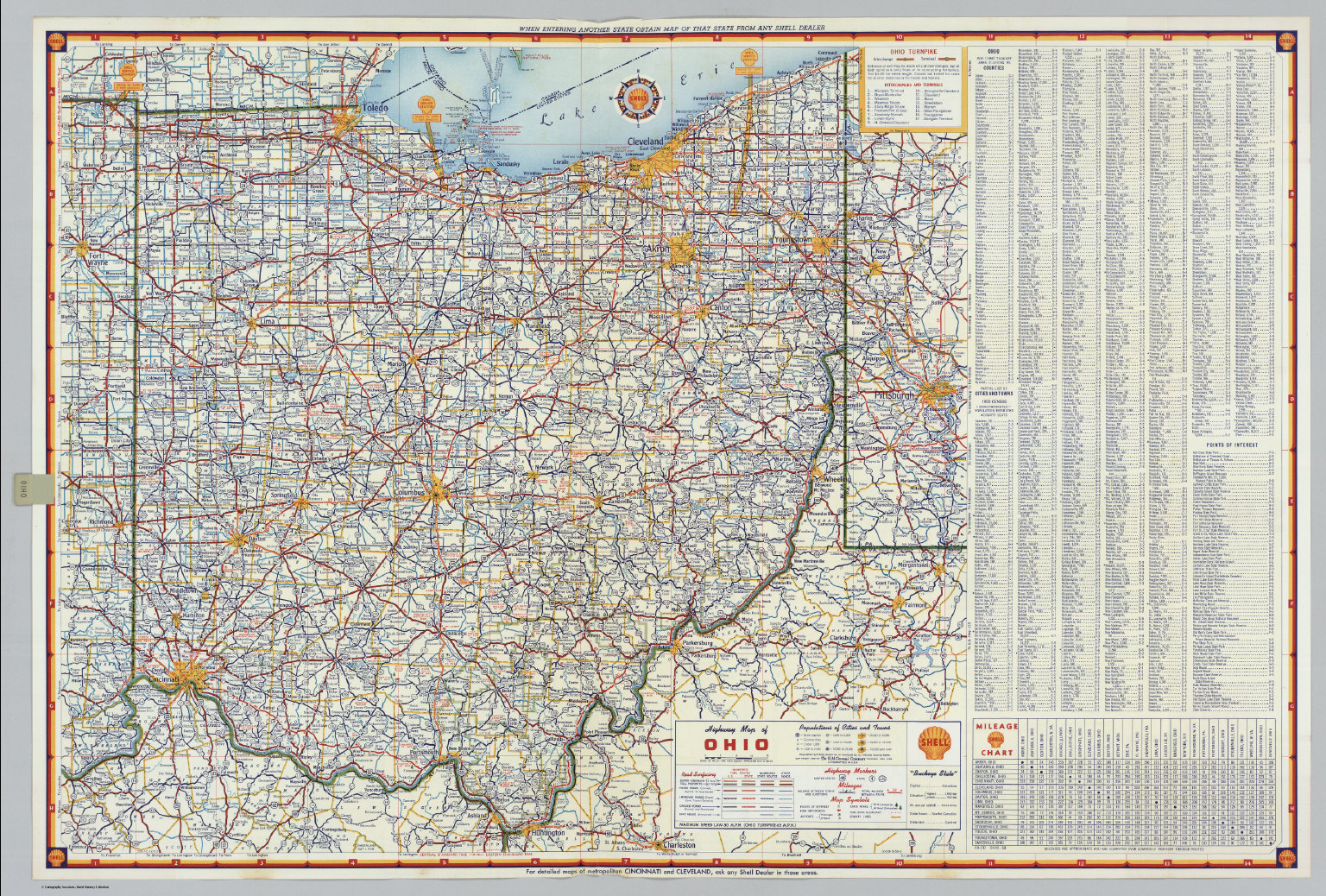 Shell Highway Map of Ohio David Rumsey Historical Map Collection