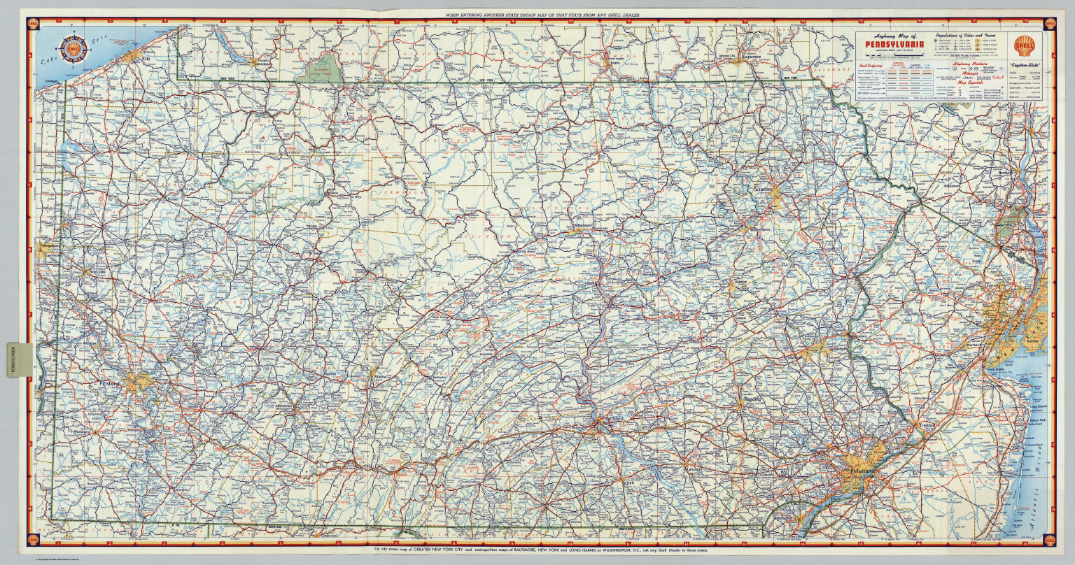 S Highway Map of Pennsylvania. - David Rumsey Historical Map ... on