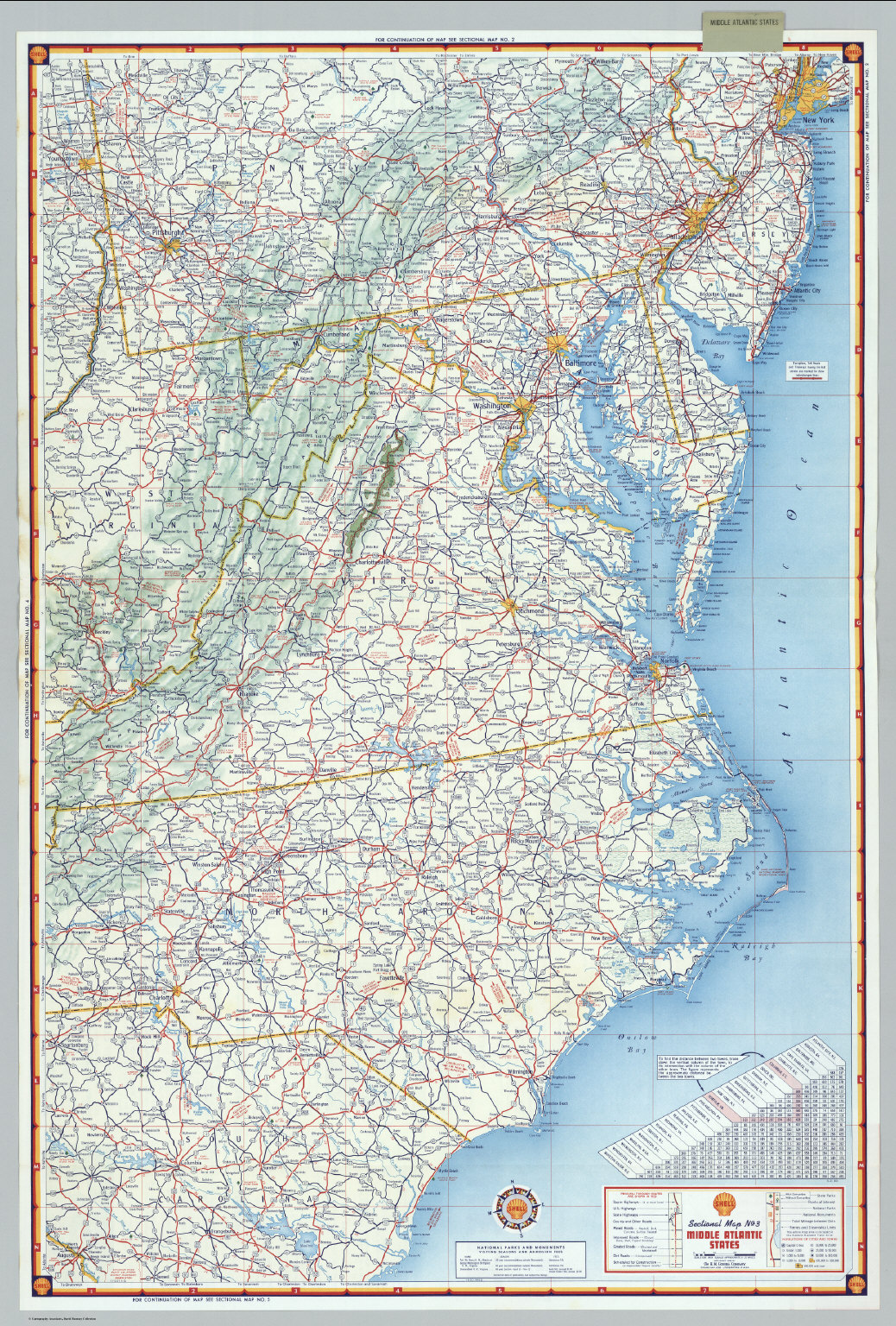 Mid Atlantic States Map.Shell Sectional Map No 3 Middle Atlantic States David Rumsey
