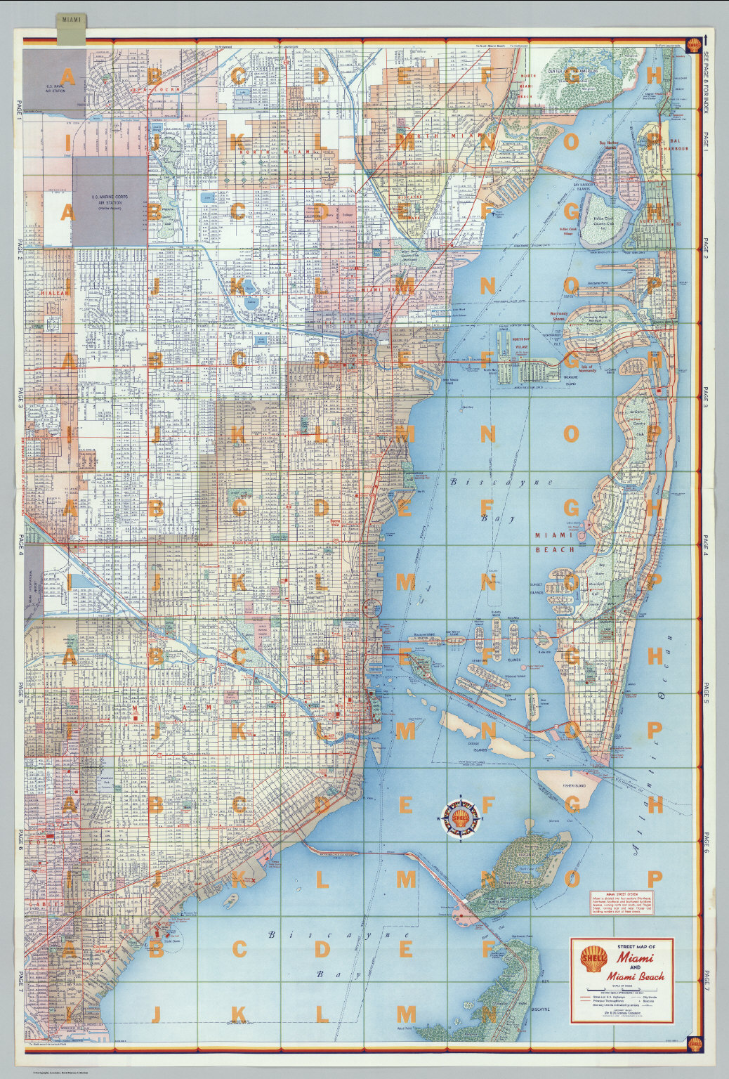Shell Street Map Of Miami And Beach Eastern Portion