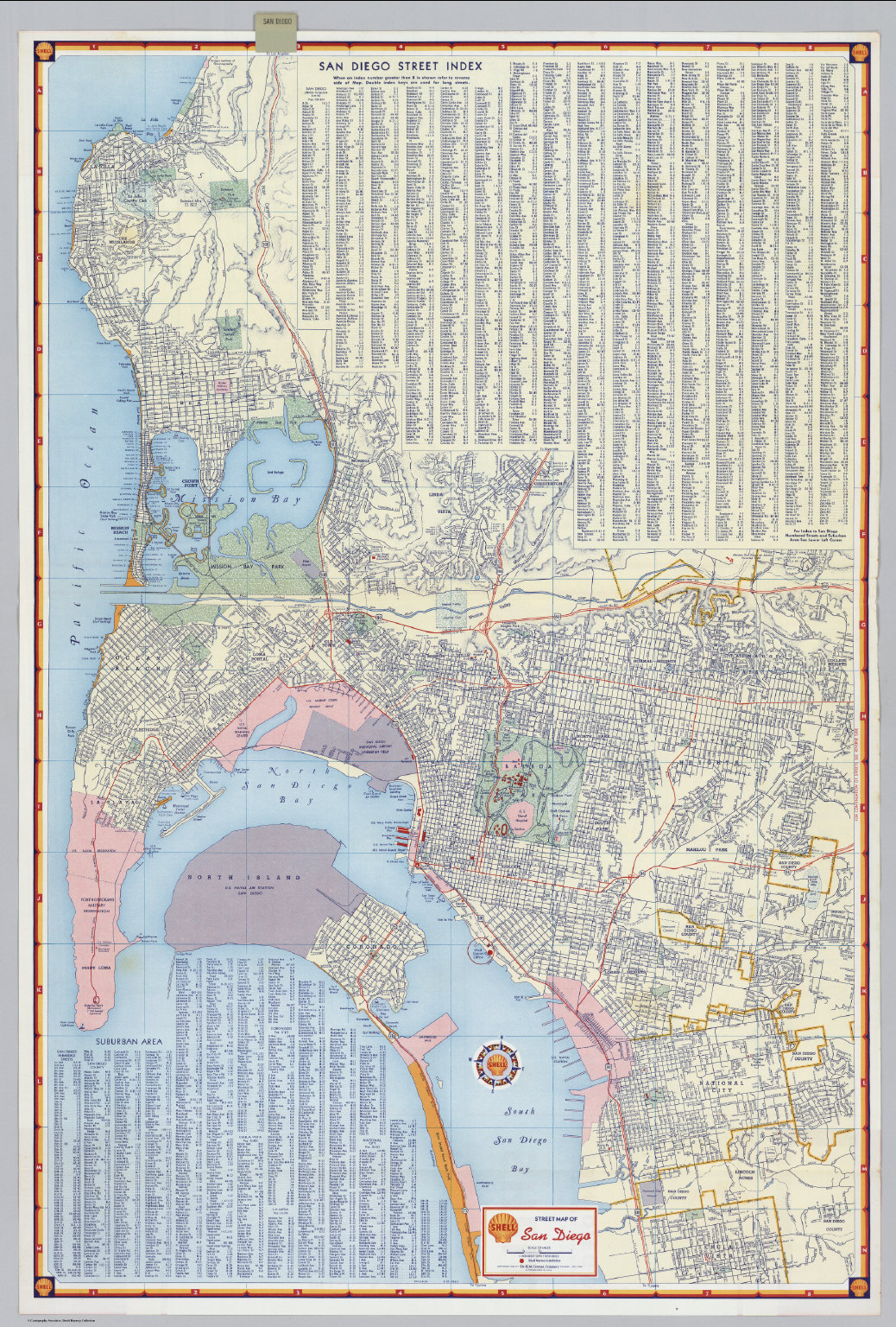 Shell Street Map of San Diego David Rumsey Historical Map Collection