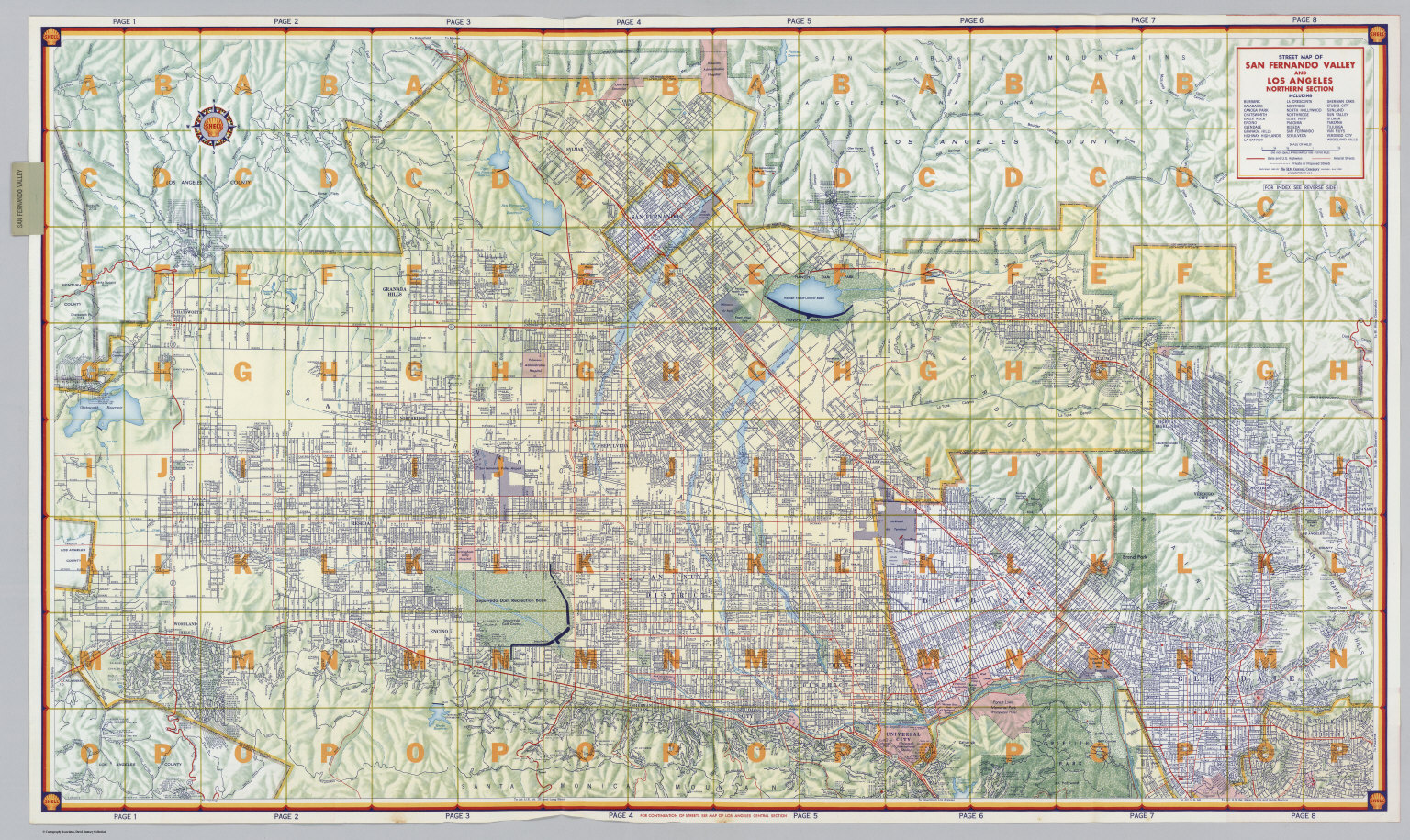 Street Map of San Fernando Valley and Los Angeles Northern Section