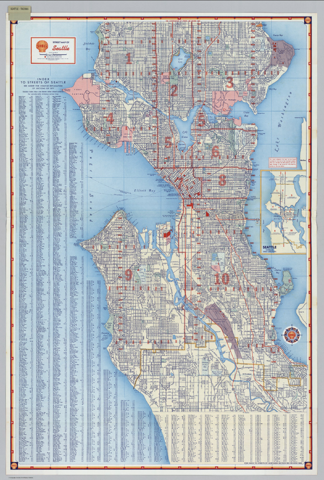 Seattle Street Map Shell Street Map of Seattle.   David Rumsey Historical Map Collection Seattle Street Map