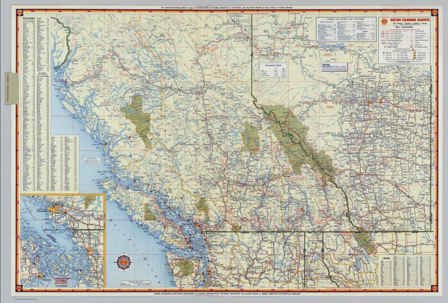 Shell British Columbia Alberta David Rumsey Historical Map