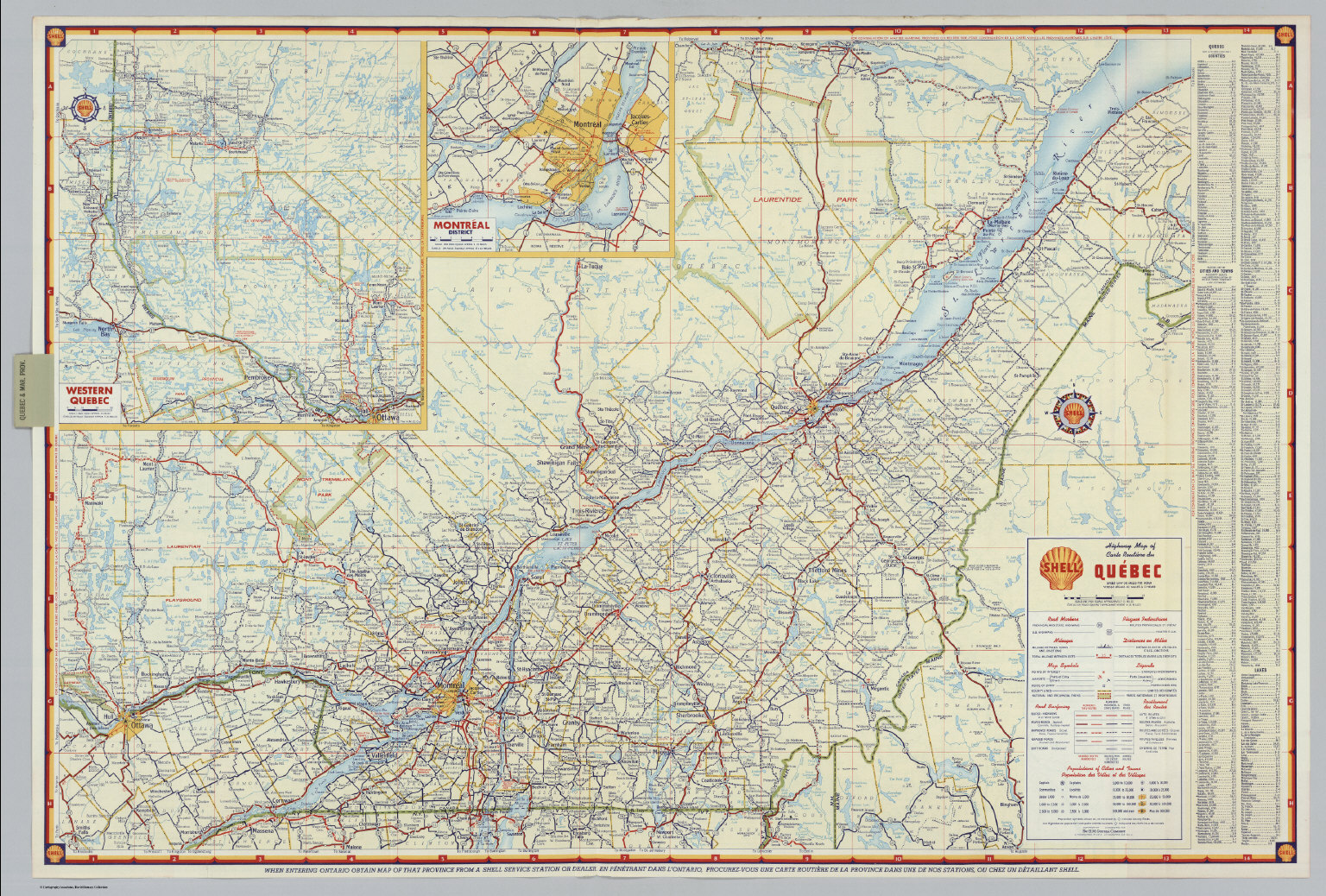 Shell Highway Map of Quebec David Rumsey Historical Map Collection