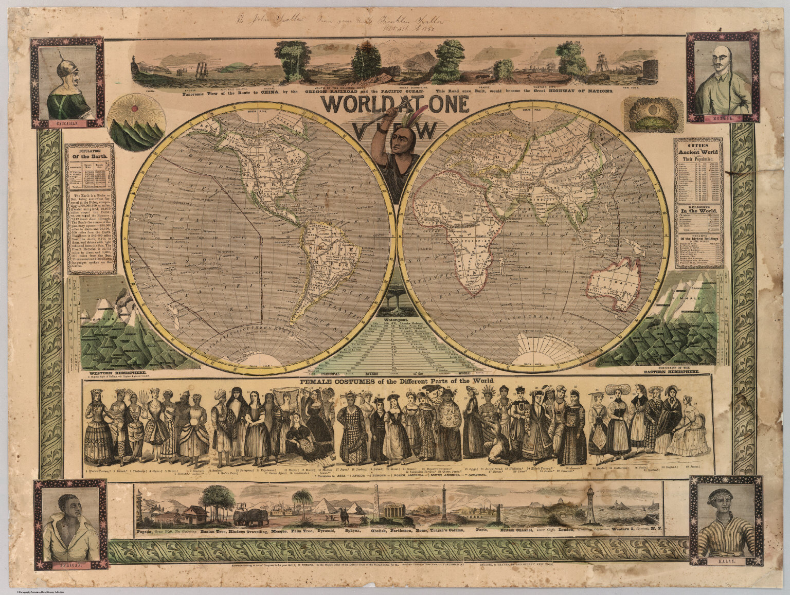 View Map Of The World.World At One View 1847 David Rumsey Historical Map Collection