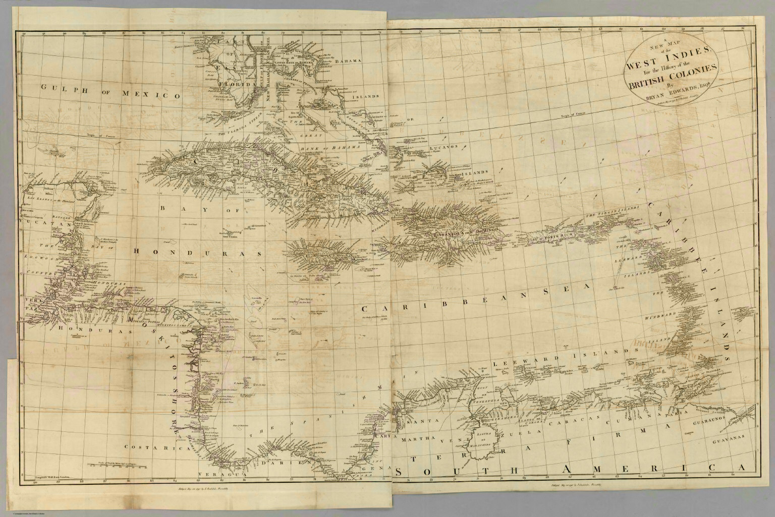 Map of the West Indies for the History of the British Colonies ...