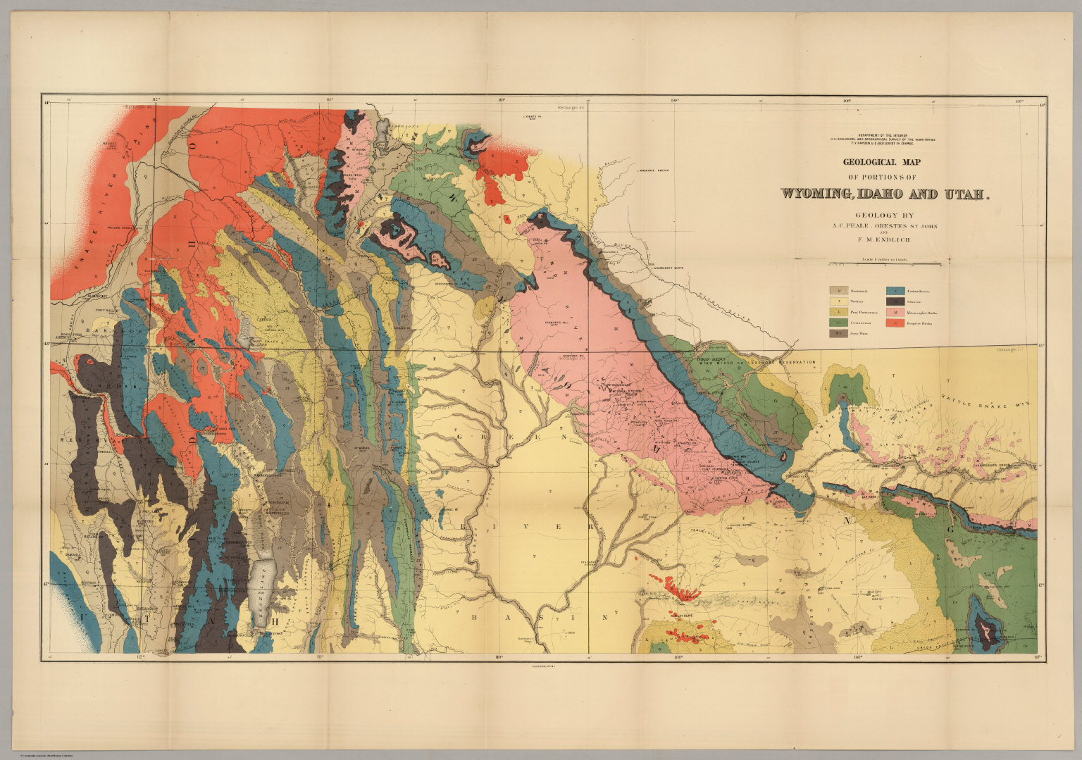 Utah And Idaho Map.Geological Map Of Portions Of Wyoming Idaho And Utah David Rumsey