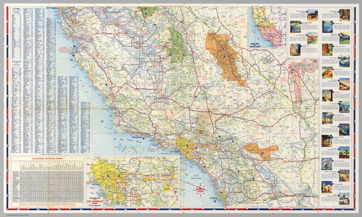 South Half Road Map Of California David Rumsey Historical Map - California road map