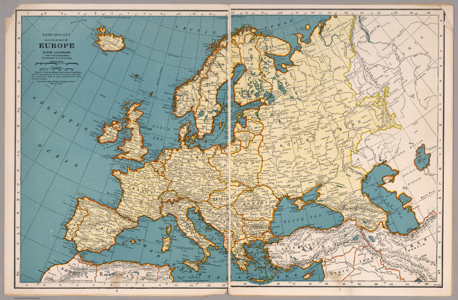 Rand McNally Map Of Europe David Rumsey Historical Map Collection - Historical outline map